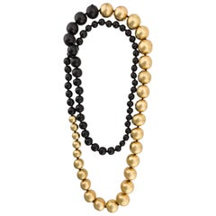 Monies Black and Gold Leaf Wood Bead Necklace