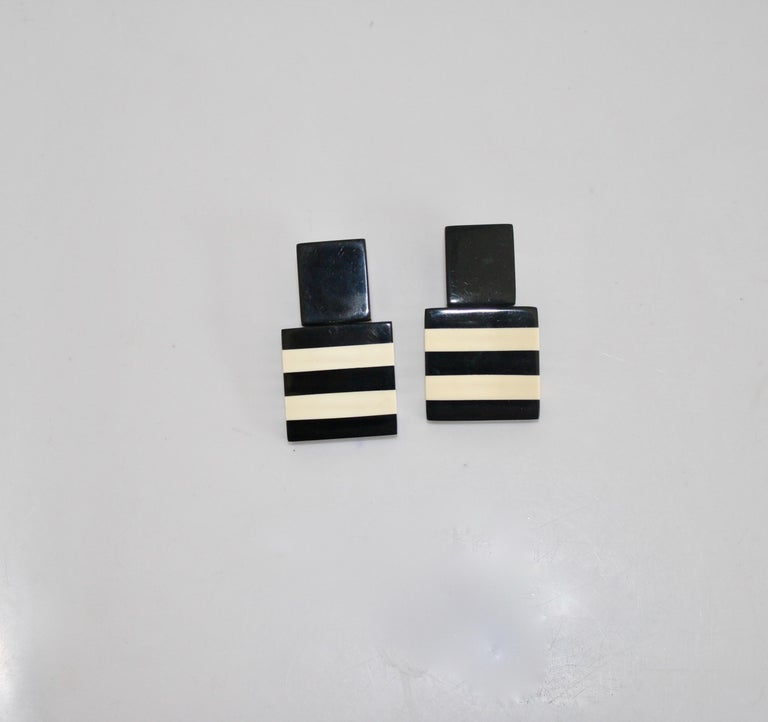 Monies Black and White Stripe Clip Earrings In New Condition For Sale In Virginia Beach, VA