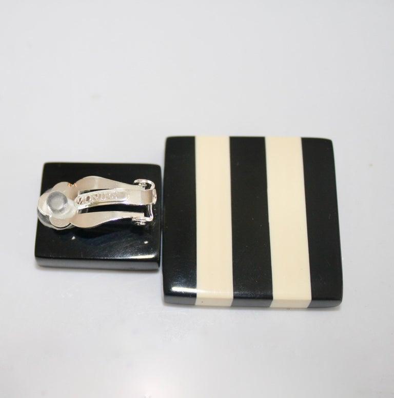 Women's Monies Black and White Stripe Clip Earrings For Sale