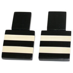 Monies Black and White Stripe Clip Earrings