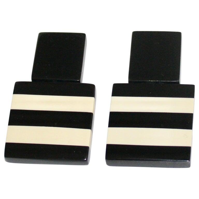 Monies Black and White Stripe Clip Earrings For Sale