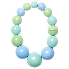 Monies Blue and Green Polyster Magnet Closure Necklace