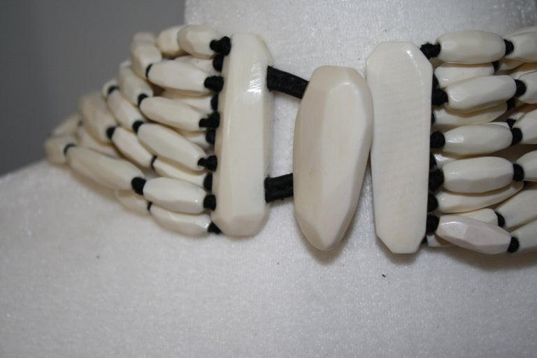 Monies Bone and leather Choker In New Condition For Sale In Virginia Beach, VA