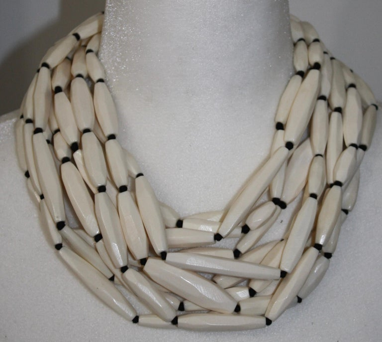 Monies Bone and leather Choker For Sale 1