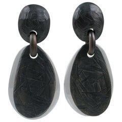 Monies Dangle Oversized Clip Earrings Acrylic and Ebony Wood