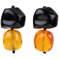 Monies Dangling Clip Earrings Black and Amber Resin