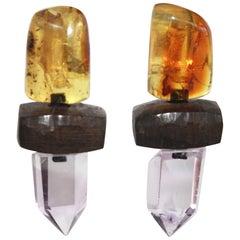 Monies Danish Amber, Amethyst, and Ebony Wood Clip Earrings
