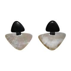 Monies Ebony and Abalone Clip Earrings