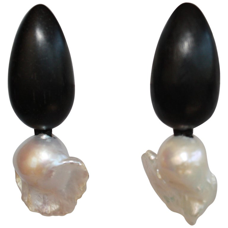 Monies Ebony and Freshwater Baroque Pearl Clip Earrings For Sale