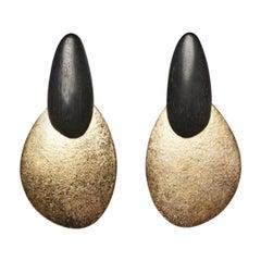 Monies Ebony and Gold Foil Clip Earrings