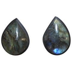 Monies Ebony and Labradorite Clip Earrings
