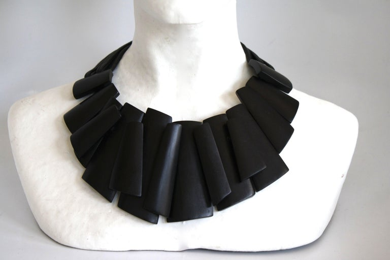 Ebony wood necklace on leather strands from Monies Denmark.
