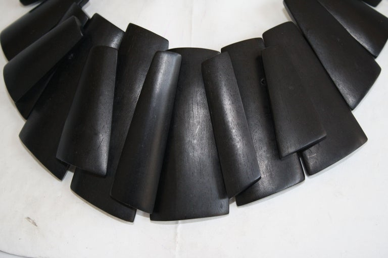 Women's Monies Ebony and Leather Statement Necklace For Sale