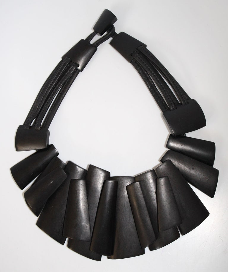Monies Ebony and Leather Statement Necklace For Sale 2