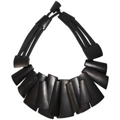 Monies Ebony and Leather Statement Necklace
