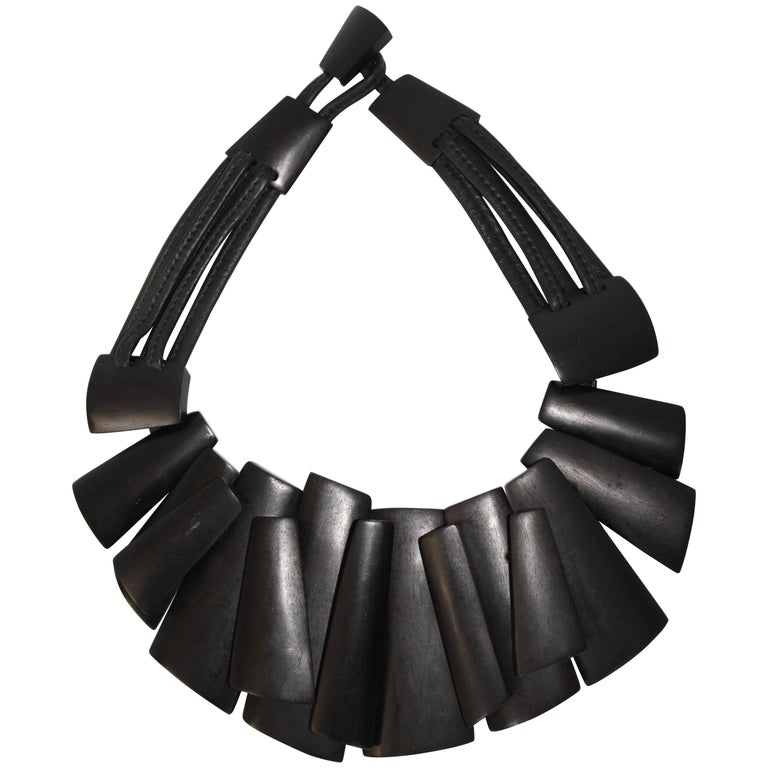 Monies Ebony and Leather Statement Necklace For Sale