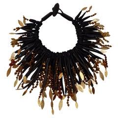 Monies Ebony, Leather, Oxidized Gold Metal Choker