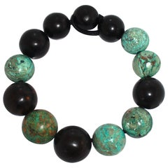 Monies Ebony Wood and Turquoise Domed Ball Necklace