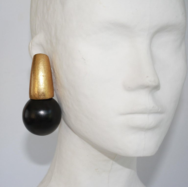 Monies Ebony Wood Ball and Gold Leaf Clip Earrings In New Condition For Sale In Virginia Beach, VA