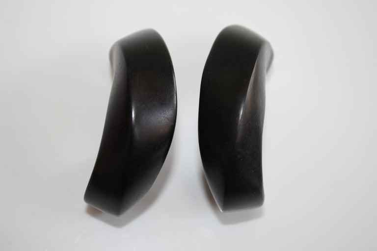 Stylish and lightweight ebony wood clip earrings from Monies Denmark.