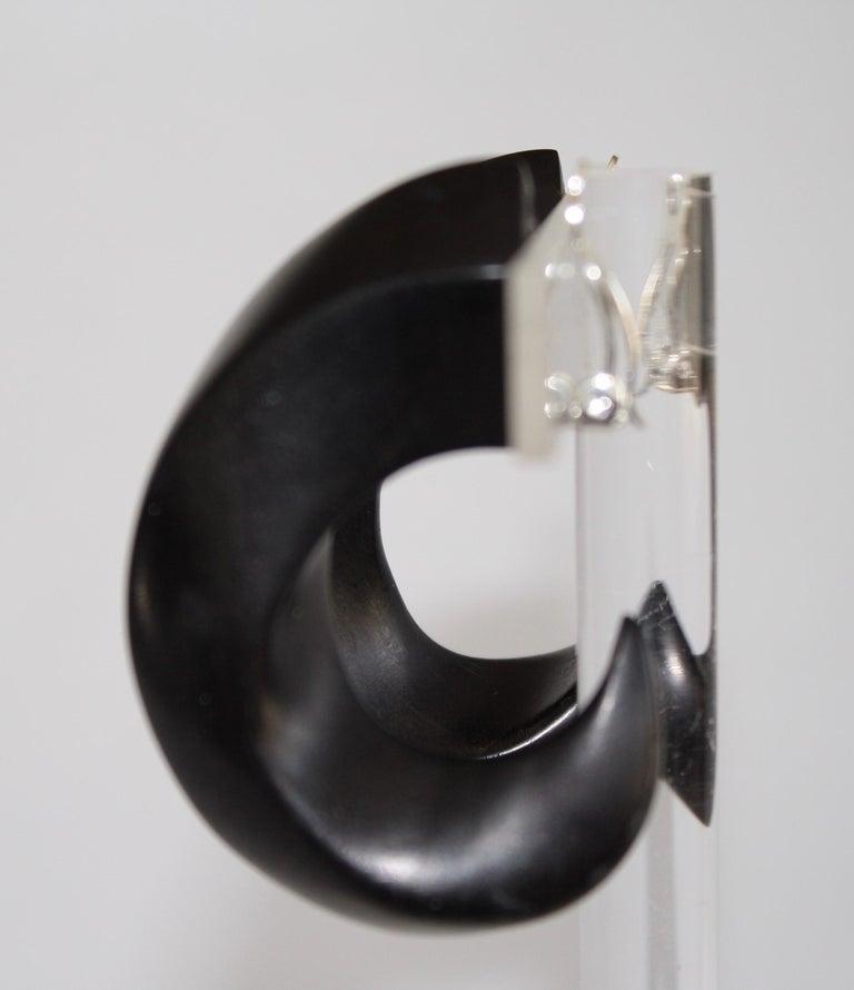 Women's Monies Ebony Wood Hoop Clip Earrings For Sale