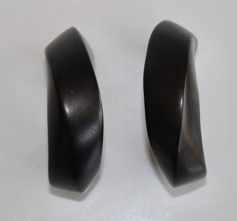 Monies Ebony Wood Hoop Clip Earrings For Sale 1