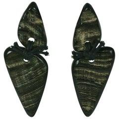 Monies Faux Horn Carved Earrings