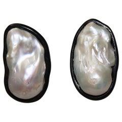 Monies Freshwater Pearl and Ebony Clip Earrings