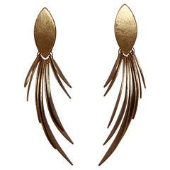 Monies Gold Foil Feather Earrings
