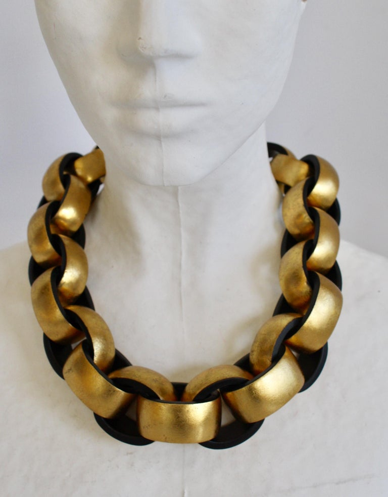 Women's Monies Gold Leaf and Ebony Wood Link Necklace For Sale