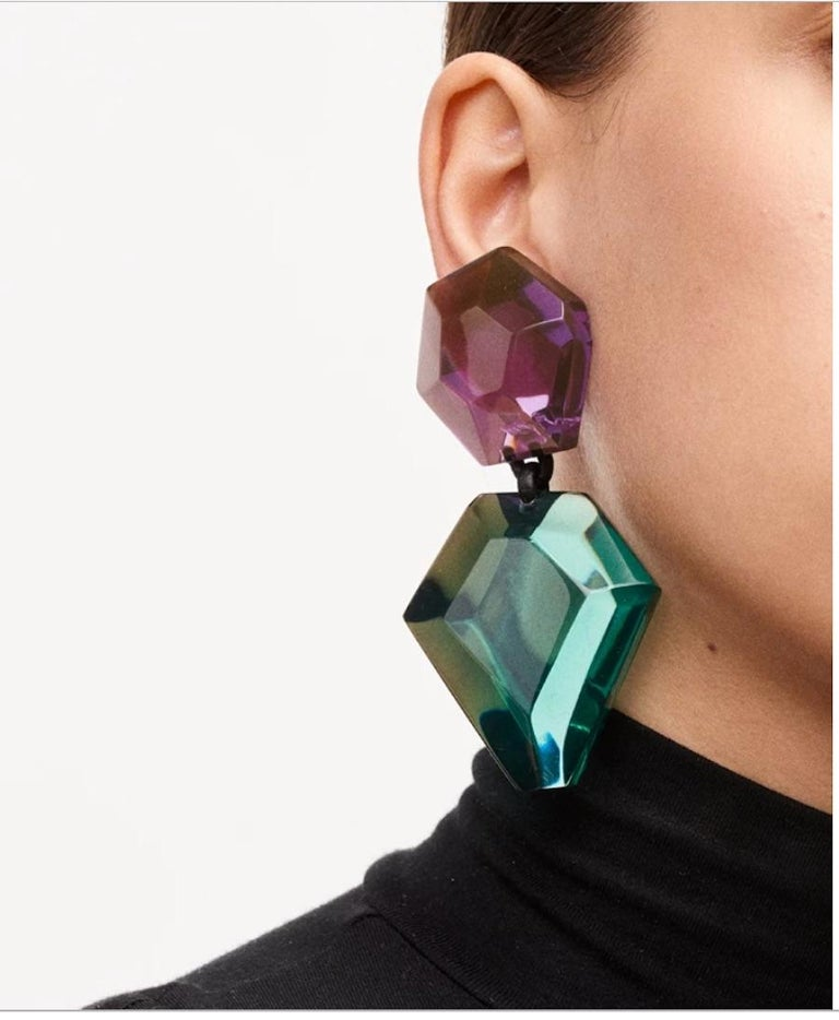 Green/turquoise and purple polyester lightweight clip earrings from Monies Denmark.
