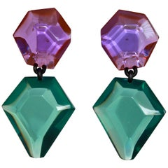 Monies Green and Purple Polyester Clip Earrings