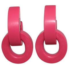 Monies Hot Pink Polyester Clip Earrings