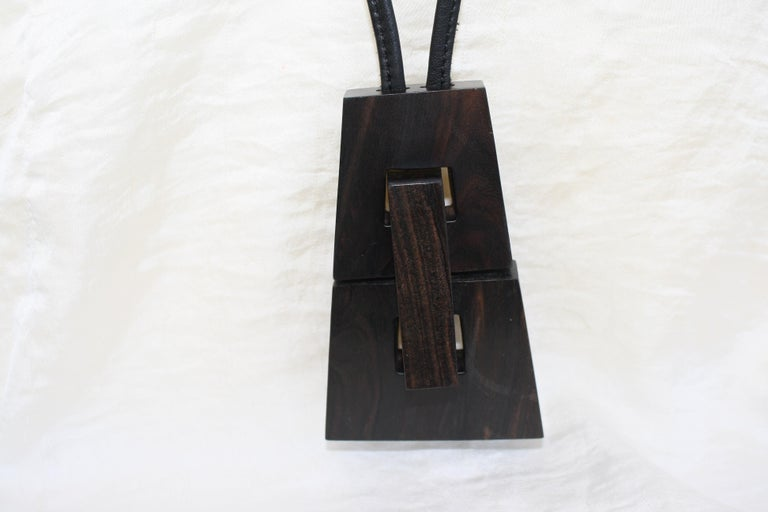 Monies Kamagong Wood and Leather Pendant Necklace In New Condition For Sale In Virginia Beach, VA