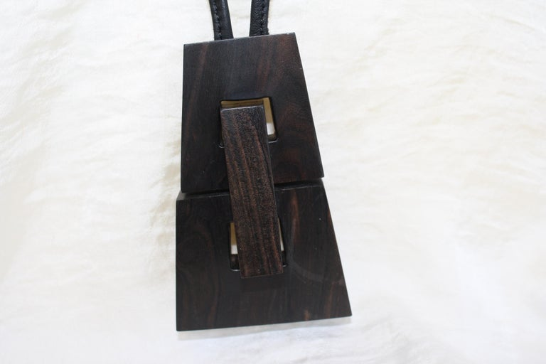 Monies Kamagong Wood and Leather Pendant Necklace For Sale 1
