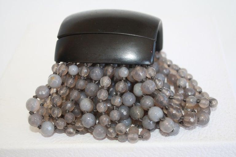 Gorgeous multi strand labradorite bead bracelet with magnetic ebony wood closure.