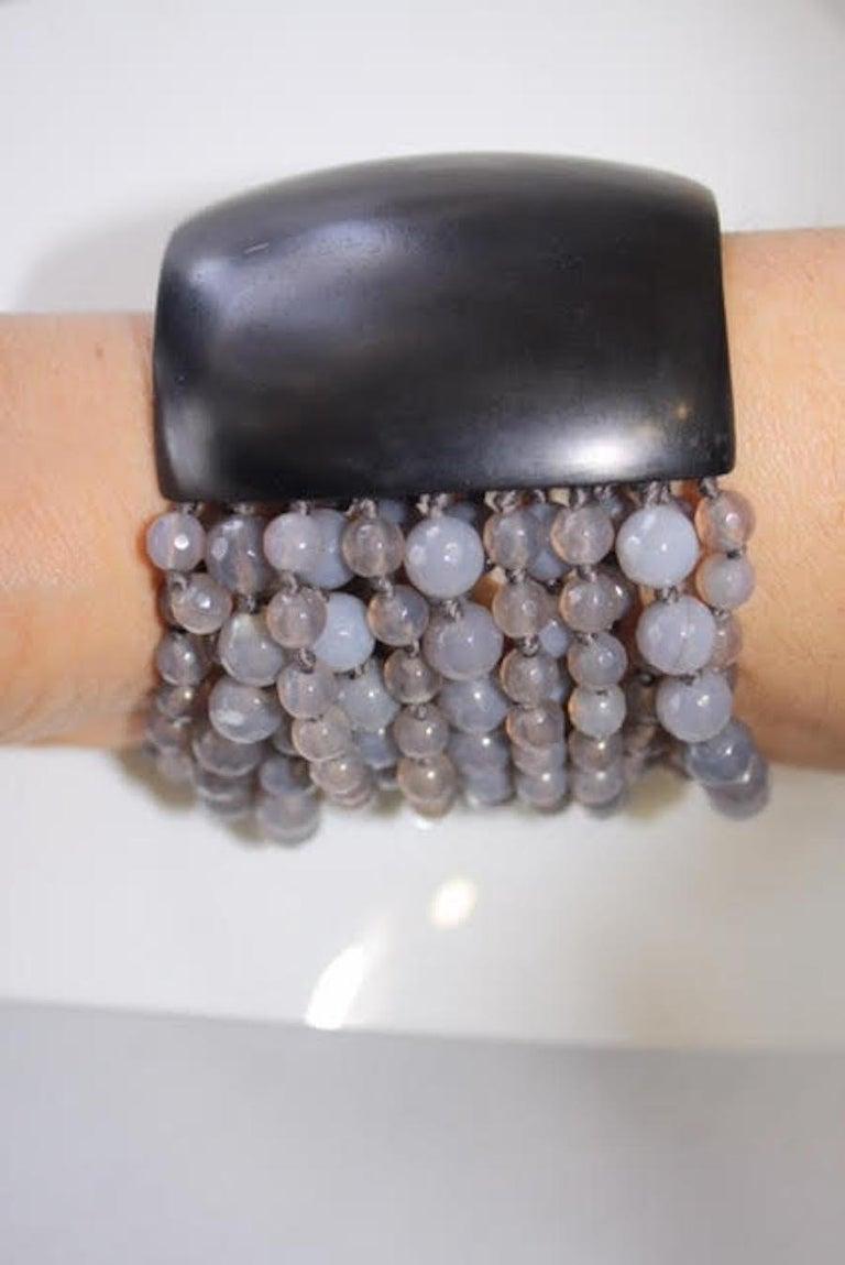 Monies Labradorite and Magnetic Ebony Wood Closure Bracelet In New Condition For Sale In Virginia Beach, VA