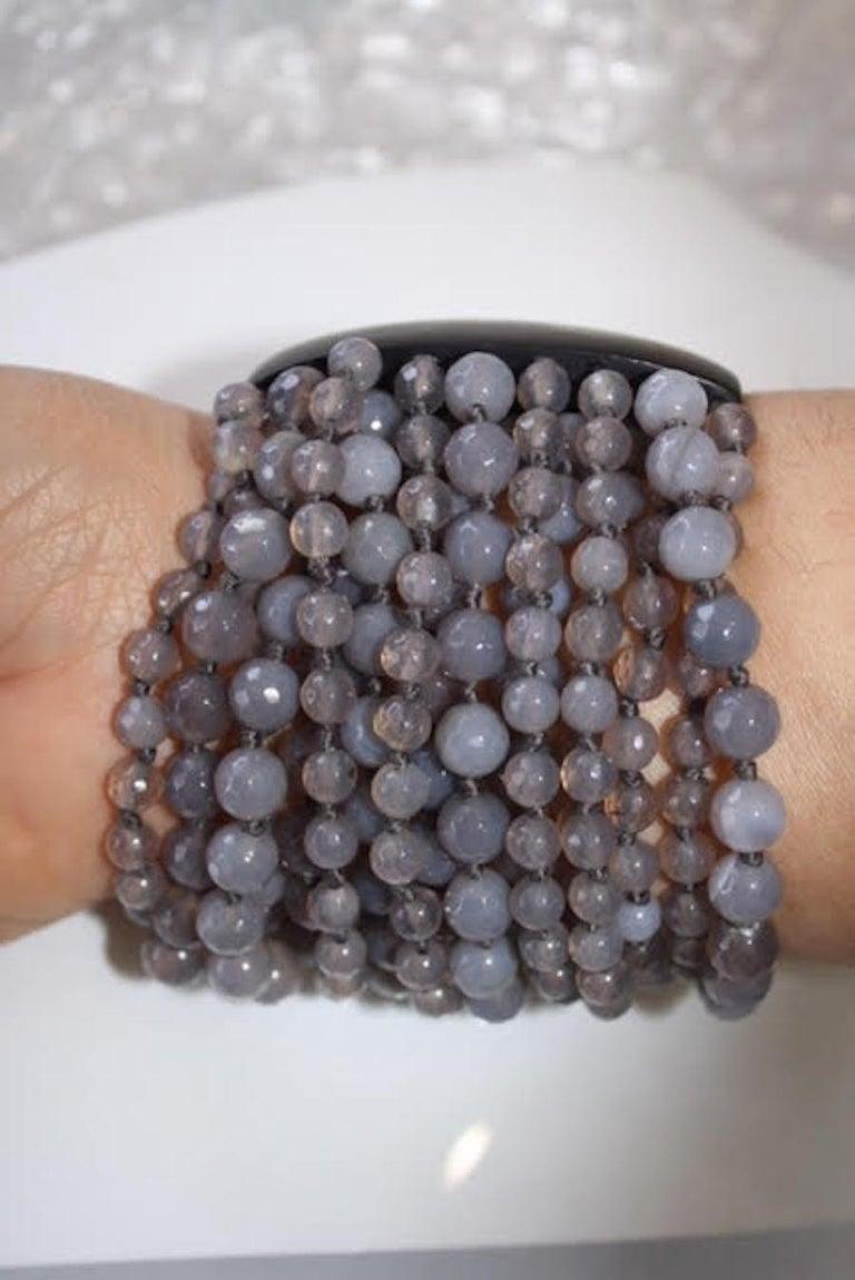 Monies Labradorite and Magnetic Ebony Wood Closure Bracelet For Sale 2
