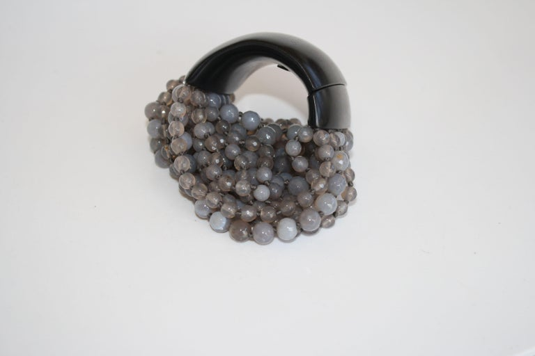 Monies Labradorite and Magnetic Ebony Wood Closure Bracelet For Sale 3