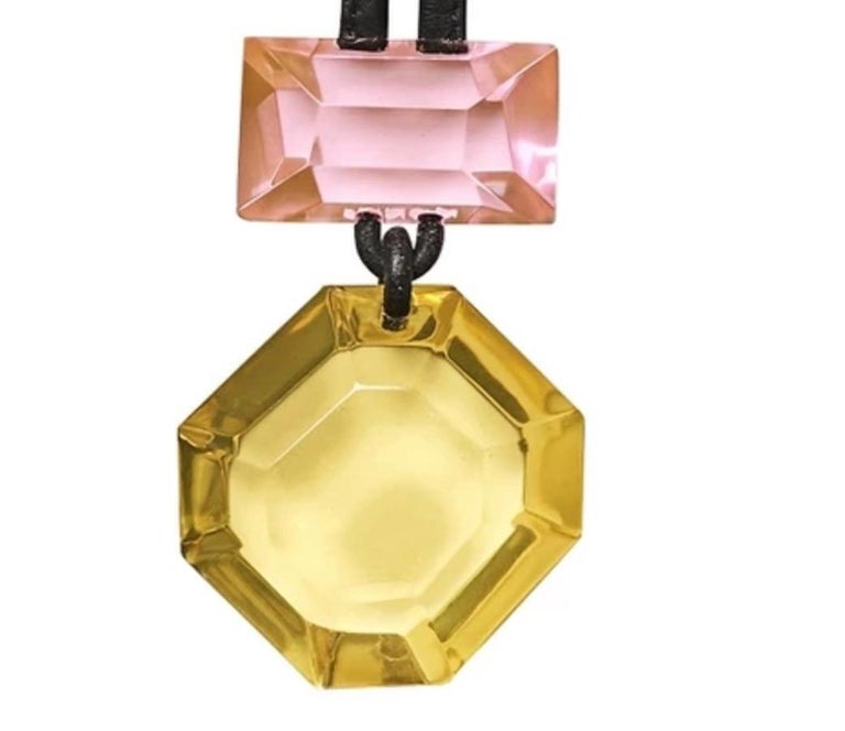 Monies Madison Yellow and Pink Polyester on Leather Pendant Necklace In New Condition For Sale In Virginia Beach, VA