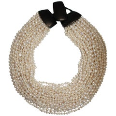 Monies Multi Strand Freshwater Pearls, Horn And Leather Choker