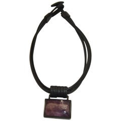 Monies One of a Kind Amethyst, Leather, and Ebony Necklace
