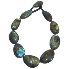 Monies One of a Kind Labradorite and Leather Choker Necklace