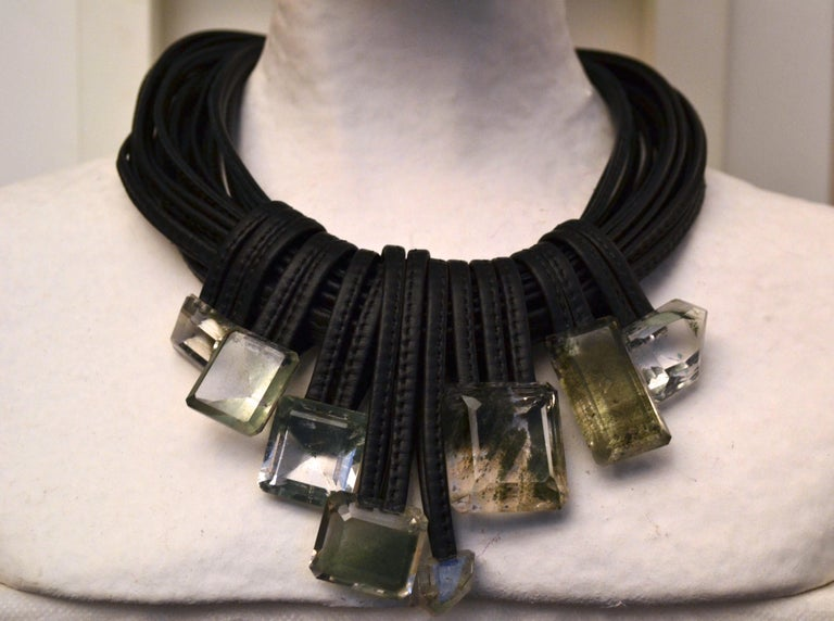 Monies One of a Kind Mountain Crystal and Leather Choker In New Condition For Sale In Virginia Beach, VA