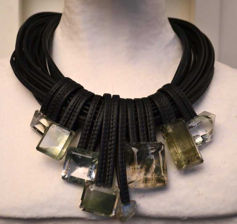 Women's Monies One of a Kind Mountain Crystal and Leather Choker For Sale