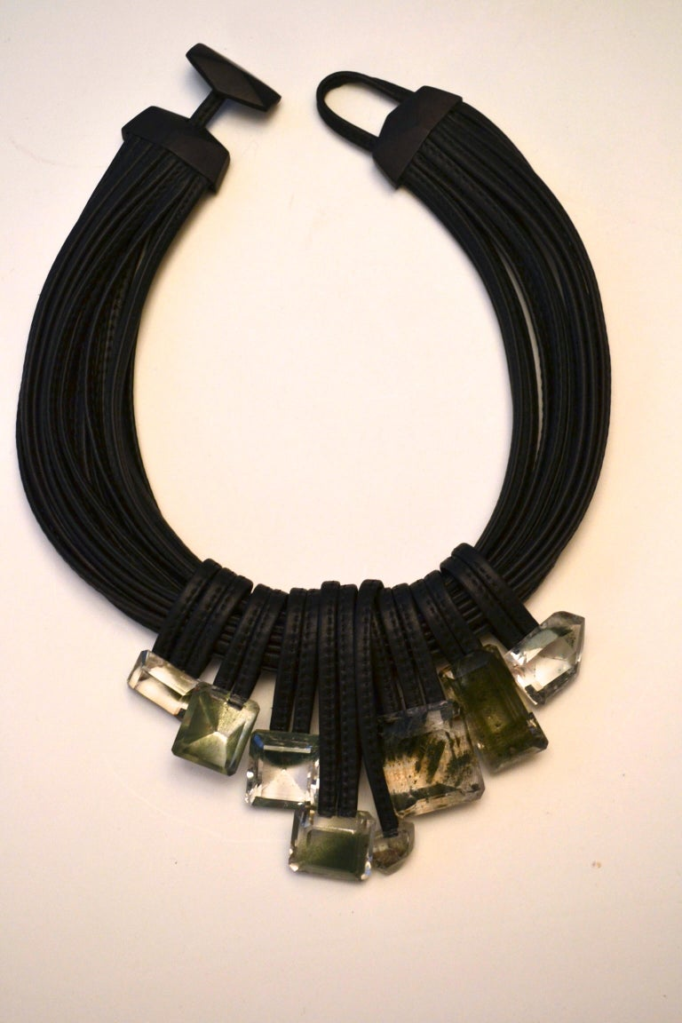 Monies One of a Kind Mountain Crystal and Leather Choker For Sale 1