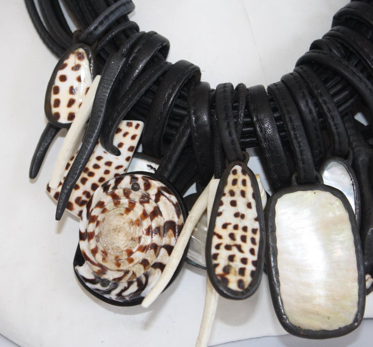 Monies One of a Kind Shell, Mother of Pearl, Rock Crystal and Ebony Necklace In New Condition For Sale In Virginia Beach, VA