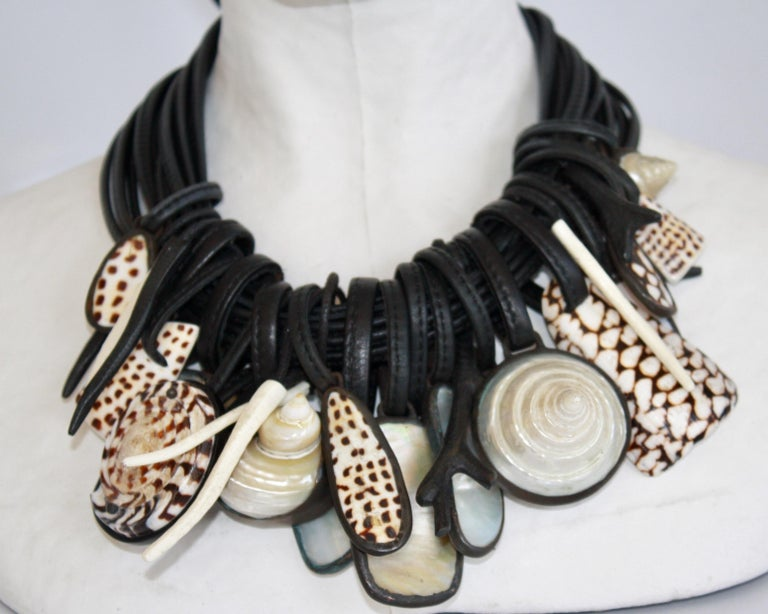 Women's Monies One of a Kind Shell, Mother of Pearl, Rock Crystal and Ebony Necklace For Sale
