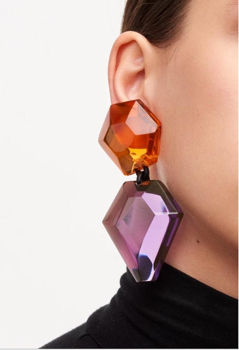 Monies Orange and Purple Polyester Clip Earrings In New Condition For Sale In Virginia Beach, VA