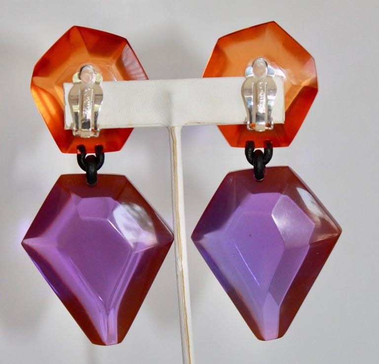 Women's Monies Orange and Purple Polyester Clip Earrings For Sale